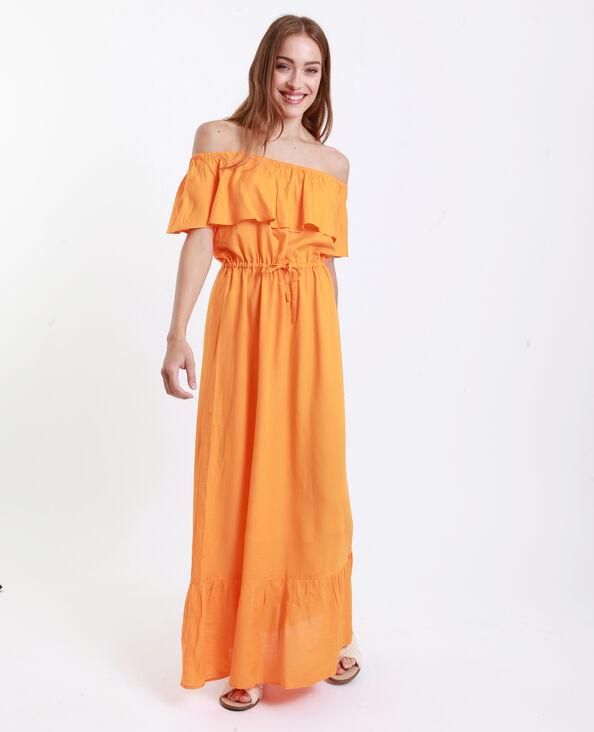 Lange jurk met ruche karamel
