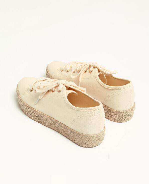 Sneakers met zool van stro wit