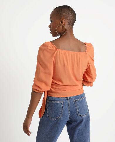Wikkelblouse oranje