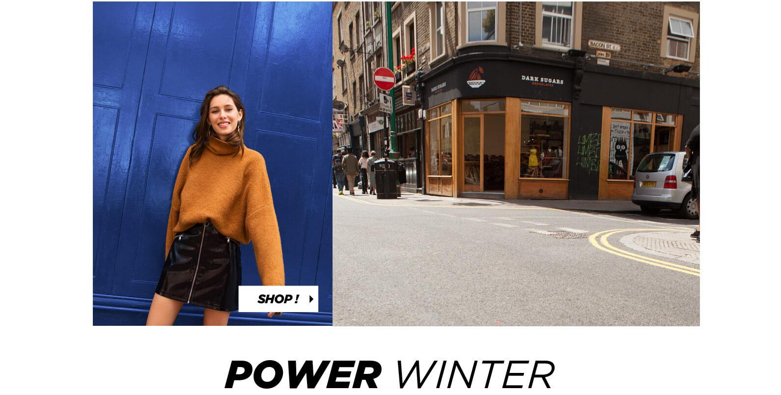 PIMKIE Pull chaud col roulé, Mini jupe vernie, Power Winter