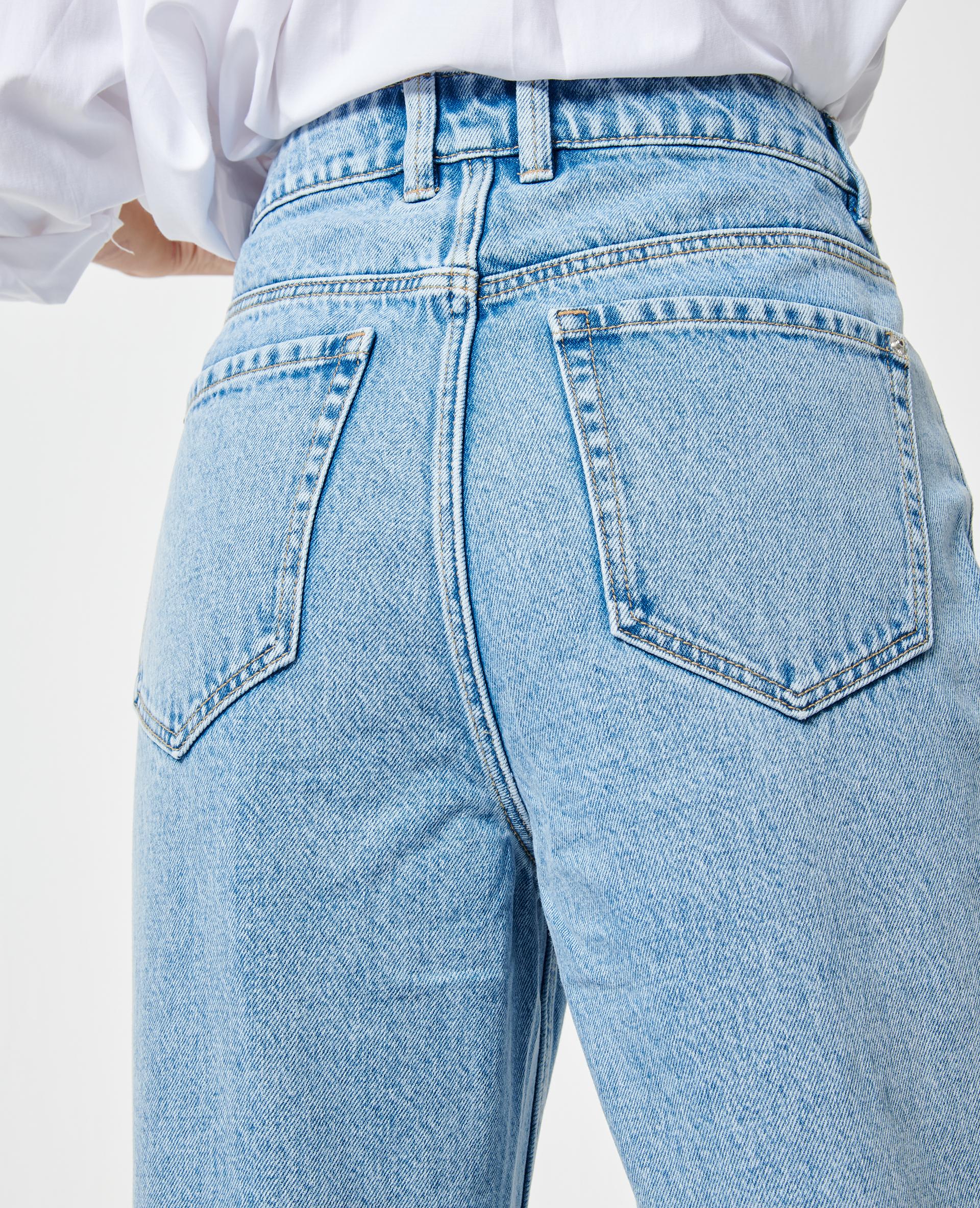 Jeans met hoge taille verwassen blauw - Pimkie