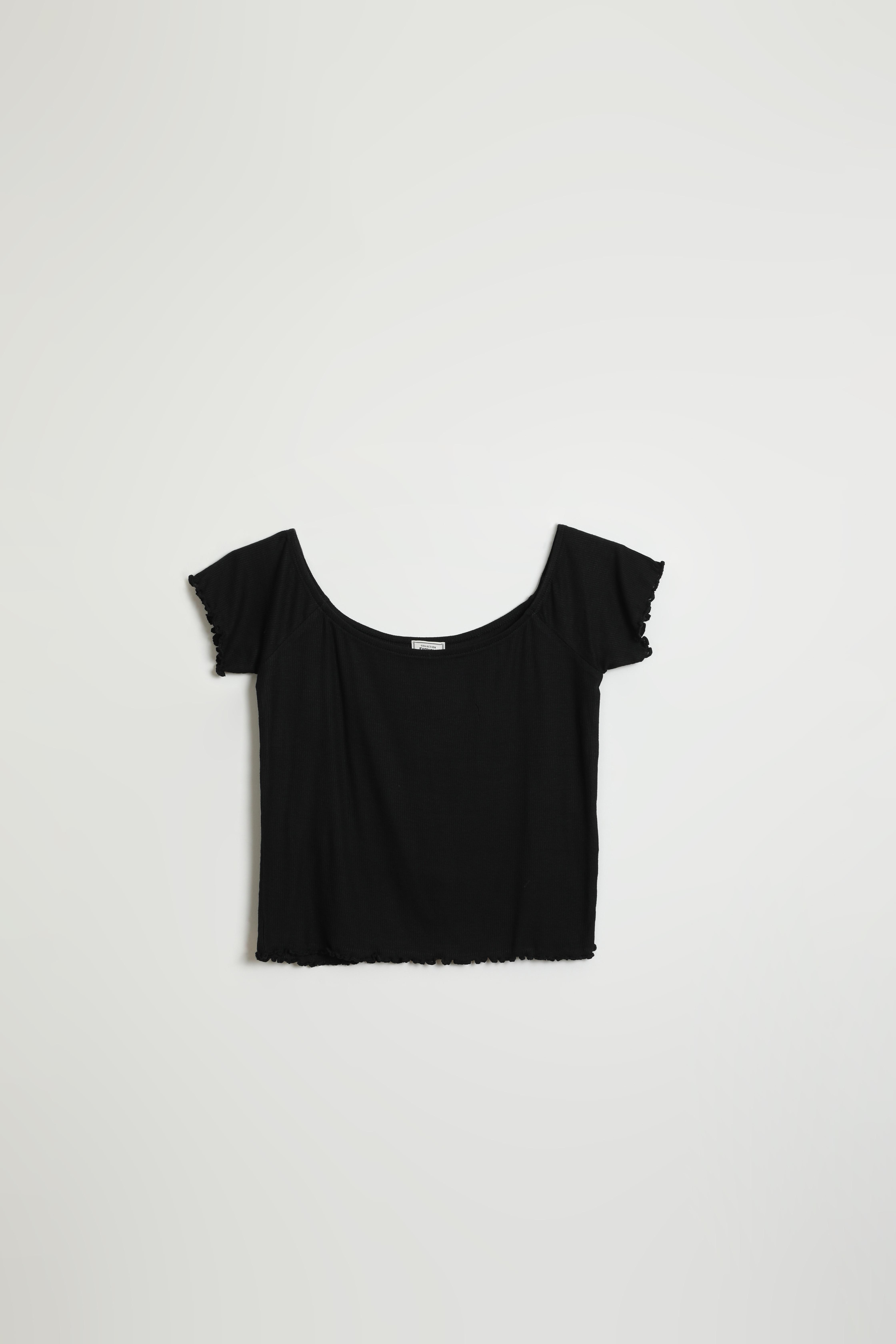 T-shirt roulotté et côtelé noir - Pimkie