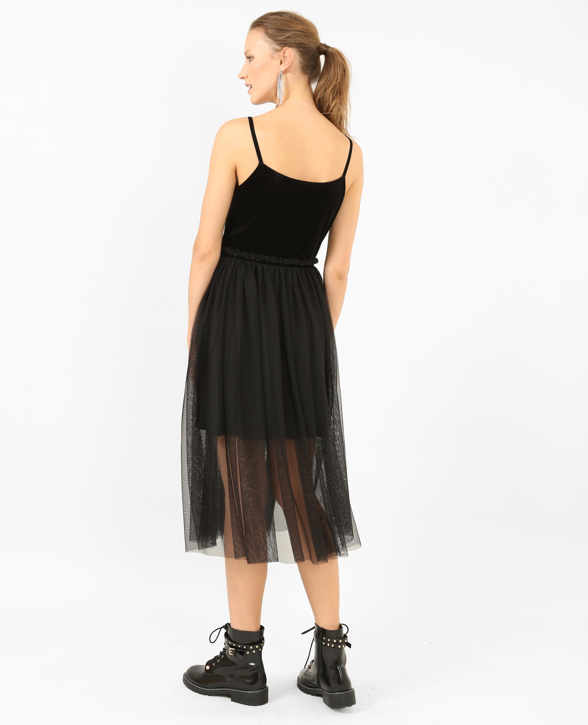 Robe bimatière noir - Pimkie