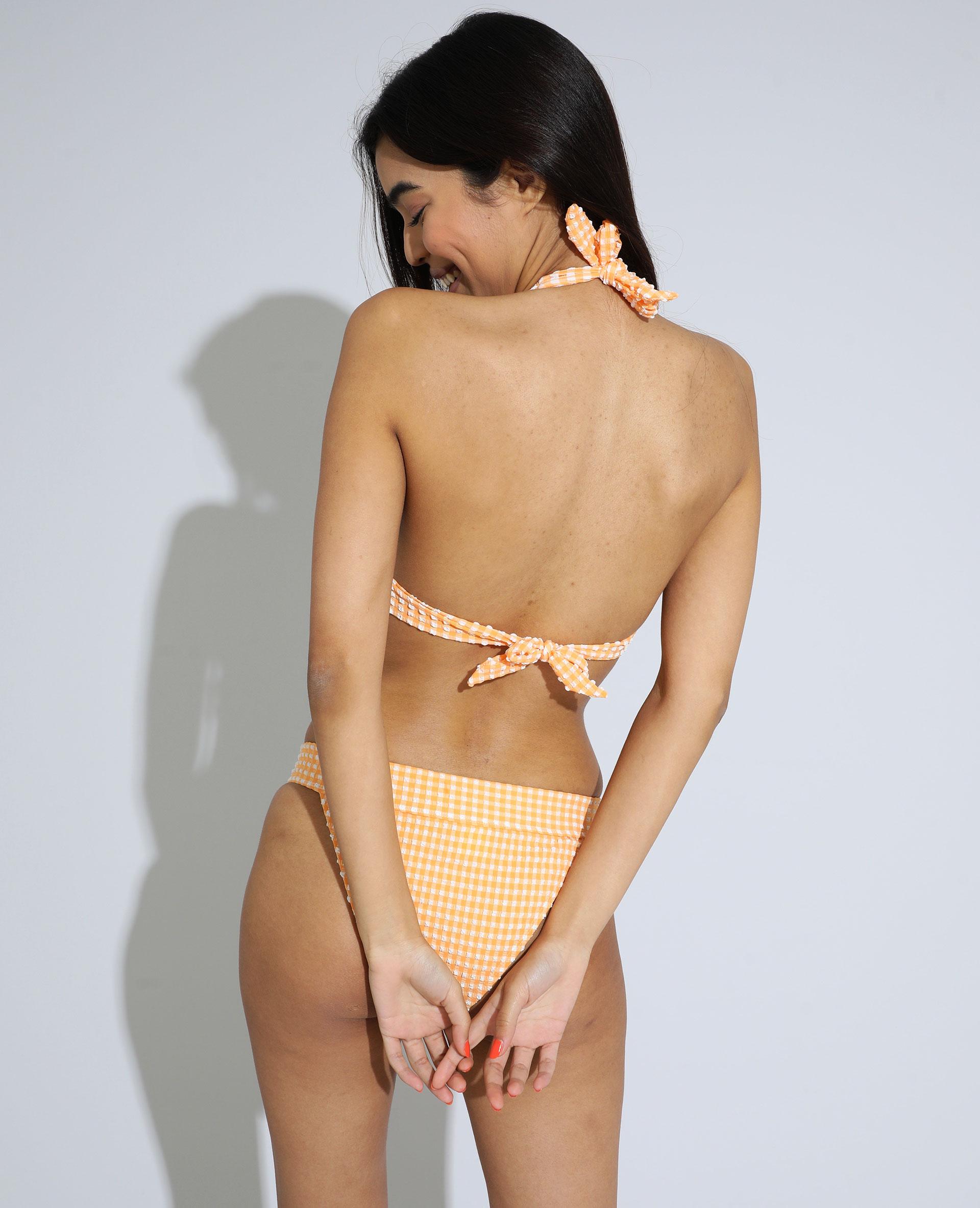 Triangelbikinitop met ruitjes en textuur oranje - Pimkie