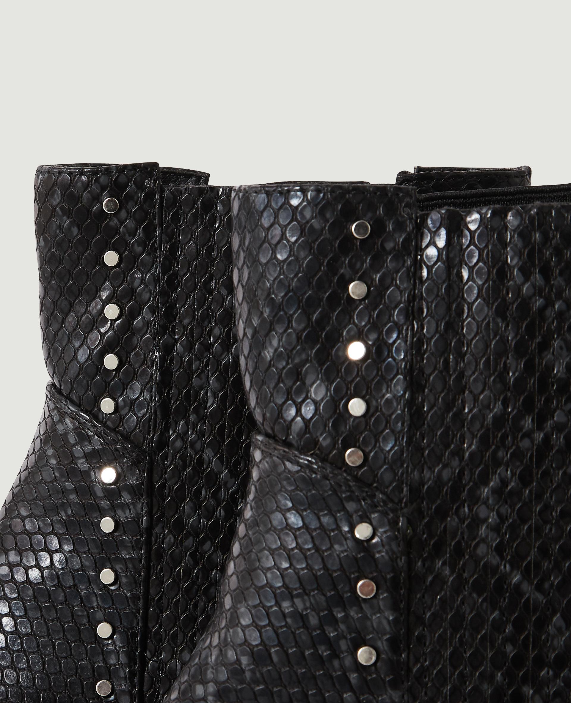 Chelsea-laarsjes met slangenpatroon en studs zwart - Pimkie