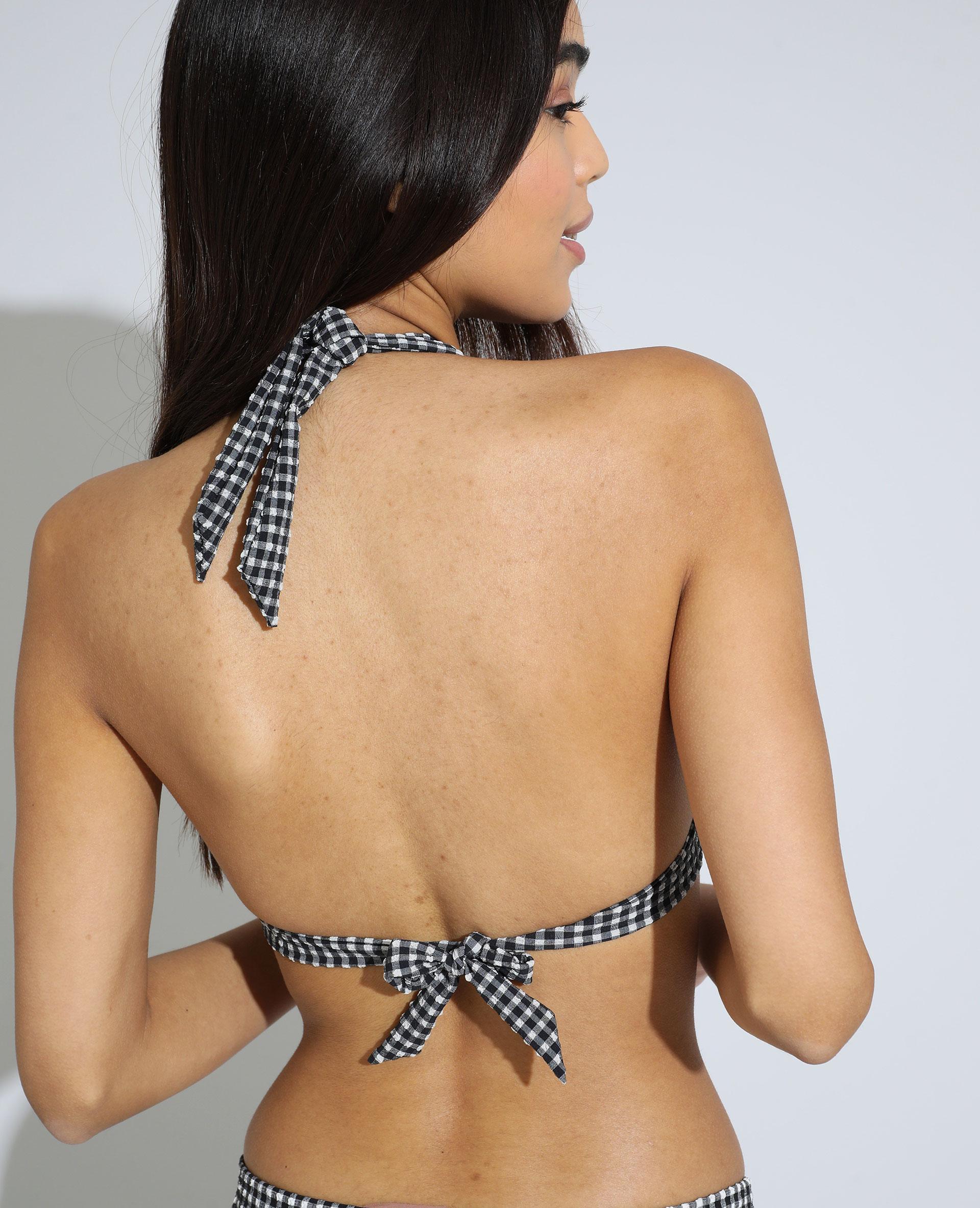 Haut de maillot triangle à carreaux texturé noir - Pimkie