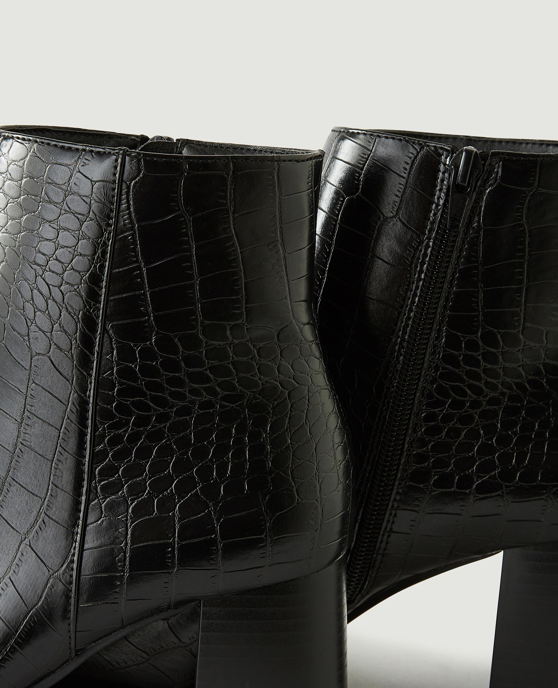 Boots met hakken en krokodillenleereffect zwart - Pimkie