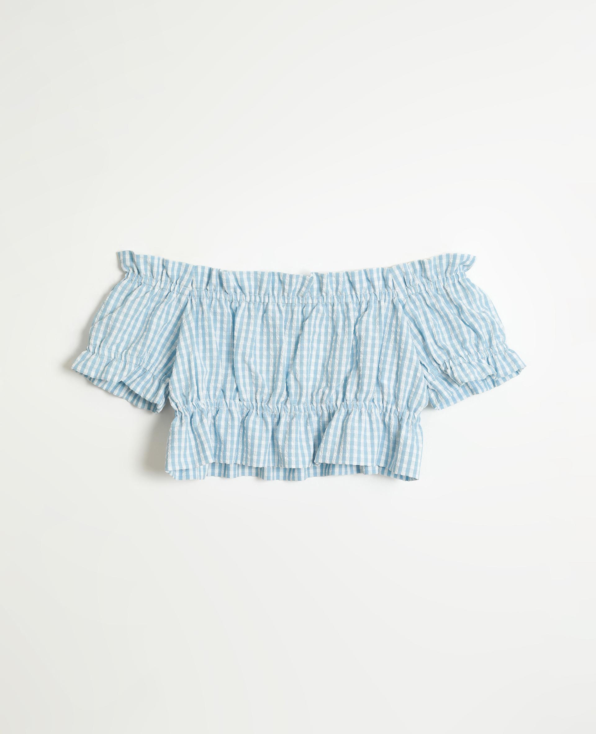 Korte top met vichypatroon blauw - Pimkie