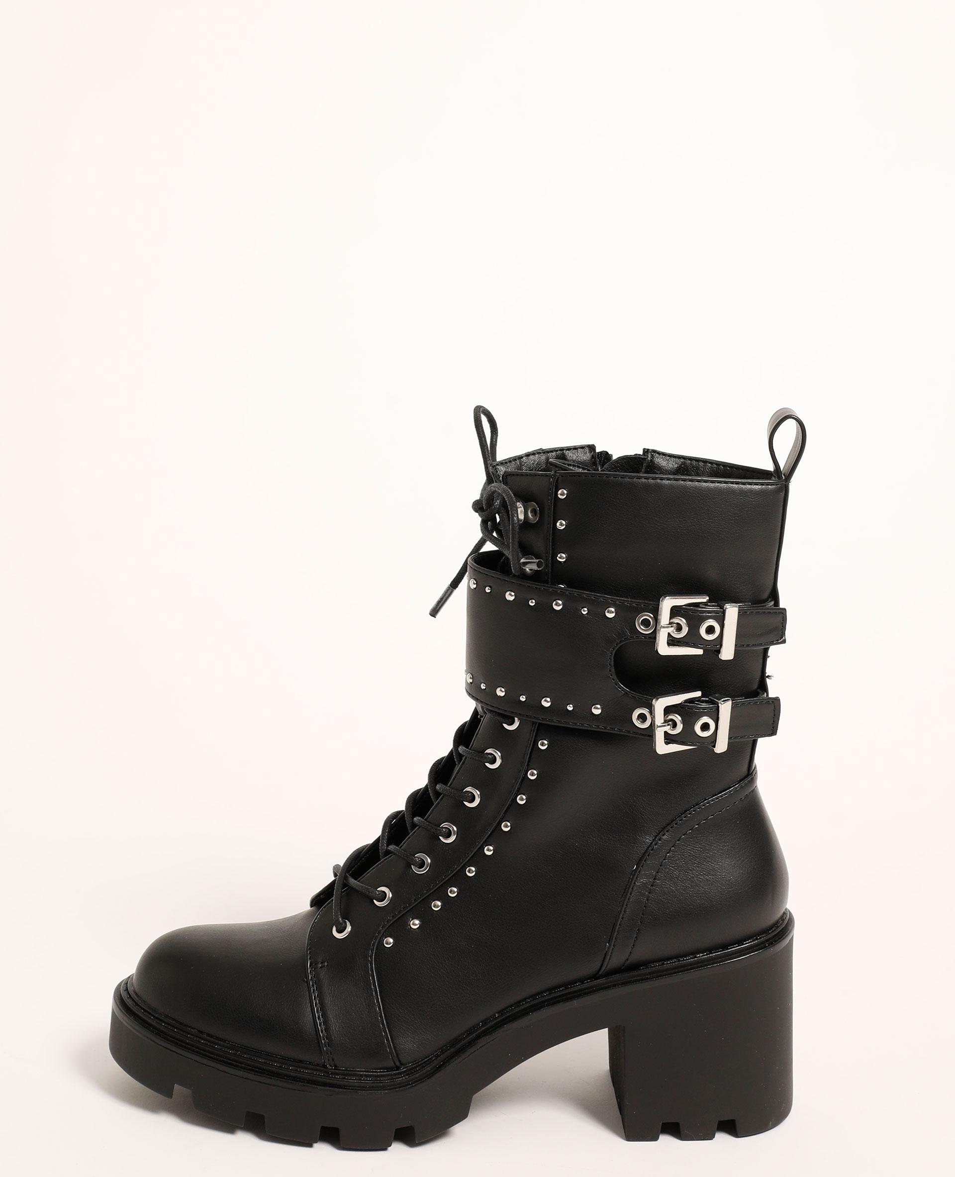 Boots à talons cloutées noir - Pimkie