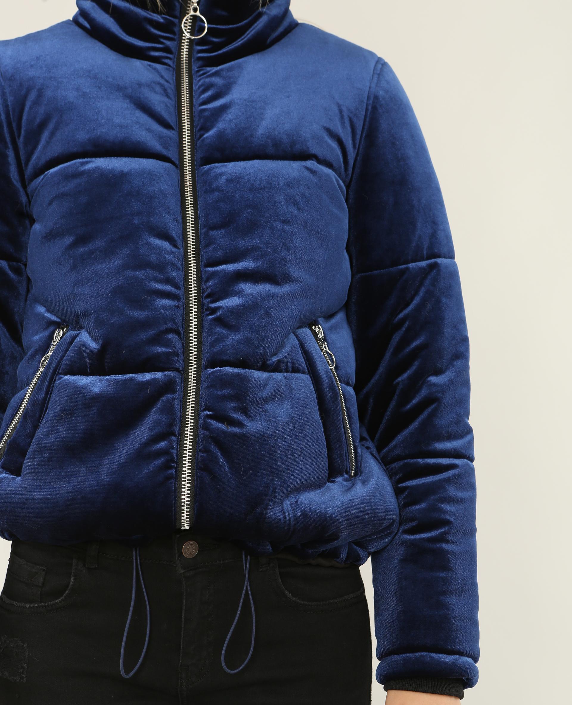 Doudoune velours bleu électrique - Pimkie