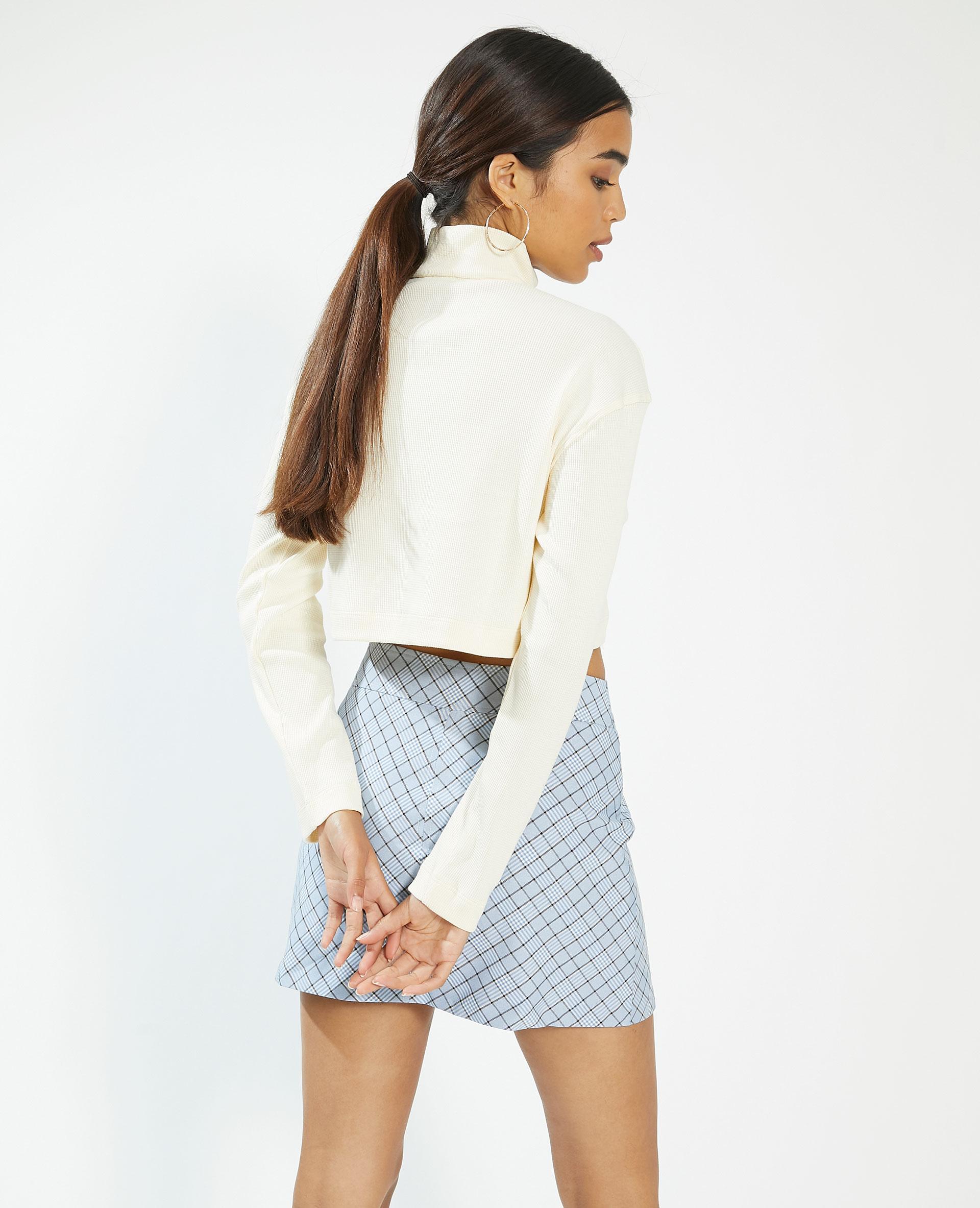 Polo zippé et gaufré blanc - Pimkie
