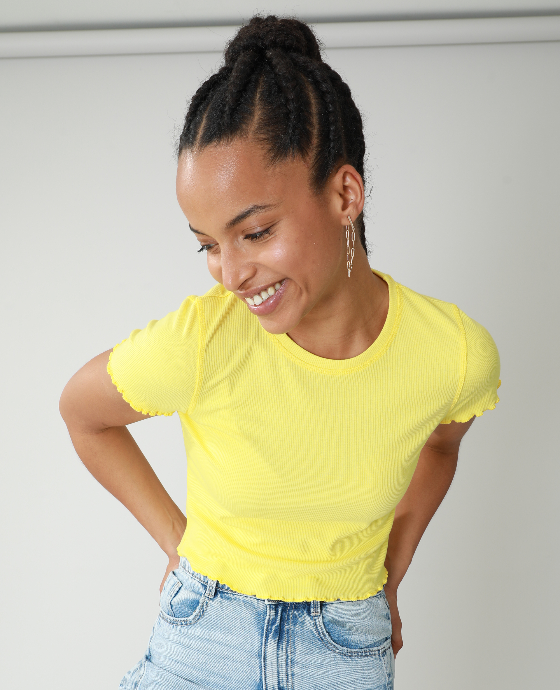 T-shirt met rolzomen geel - Pimkie