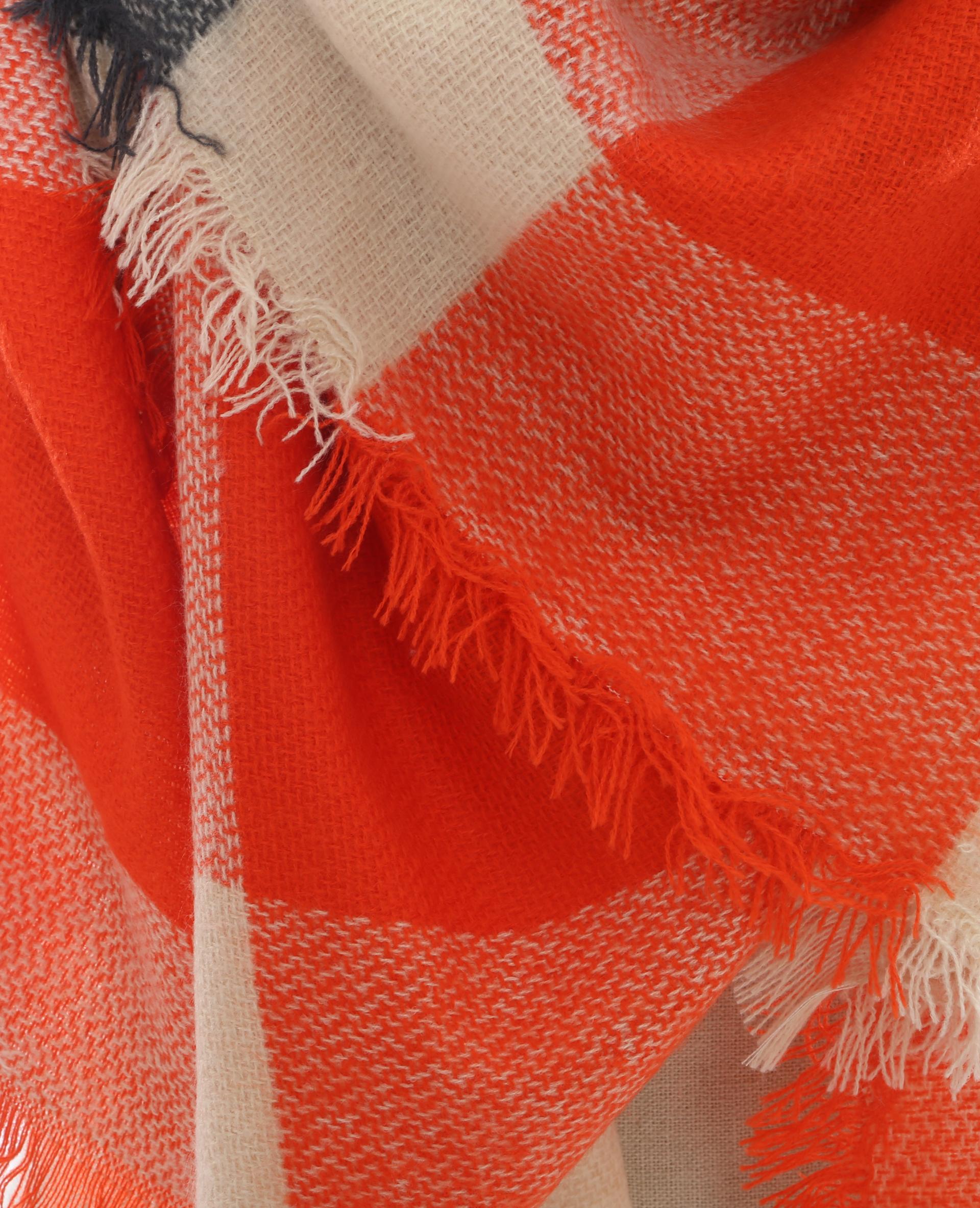 444673ef838a Echarpe oversize à carreaux orange - 902073144B48   Pimkie
