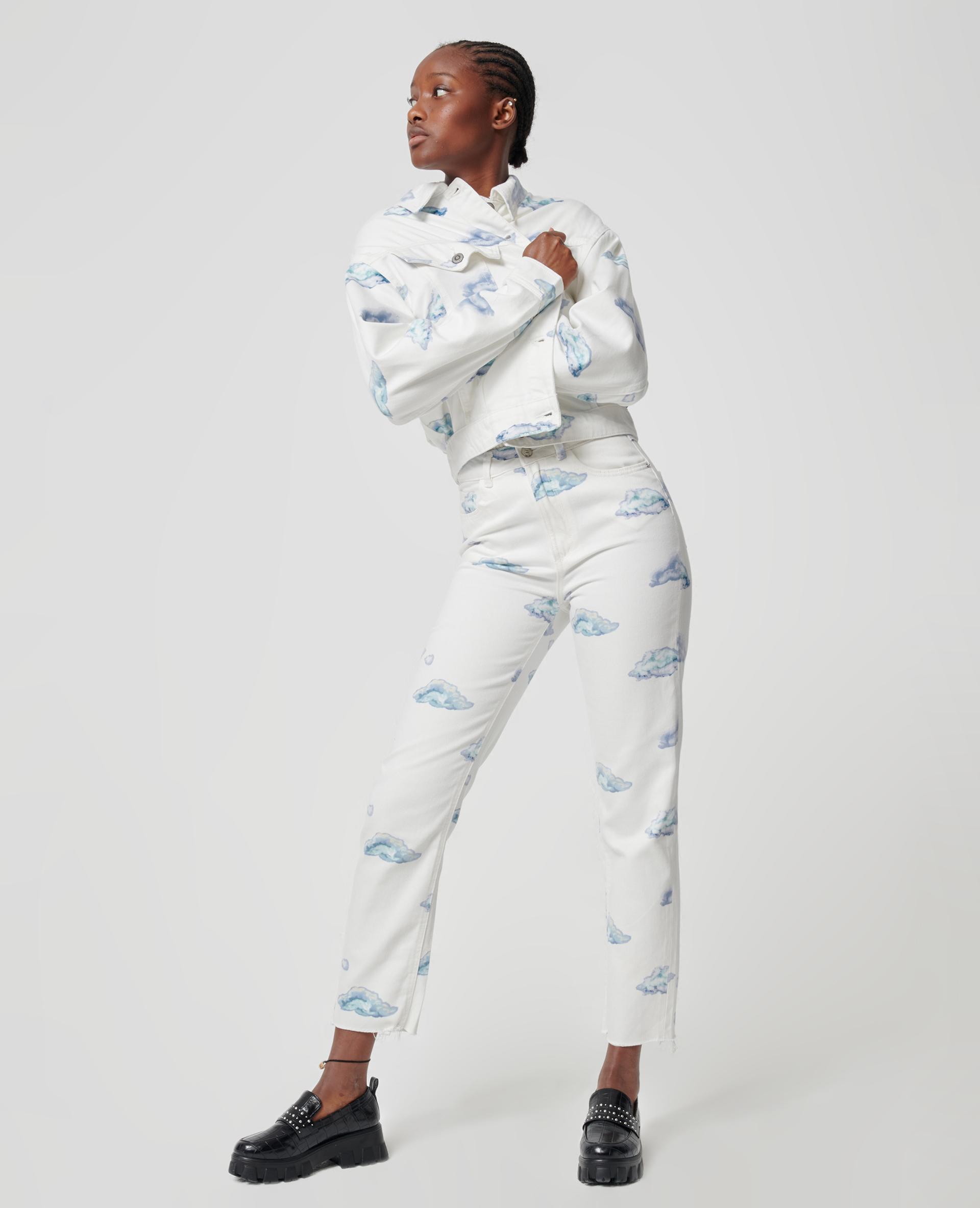 Jeans met wolkenprint wit - Pimkie