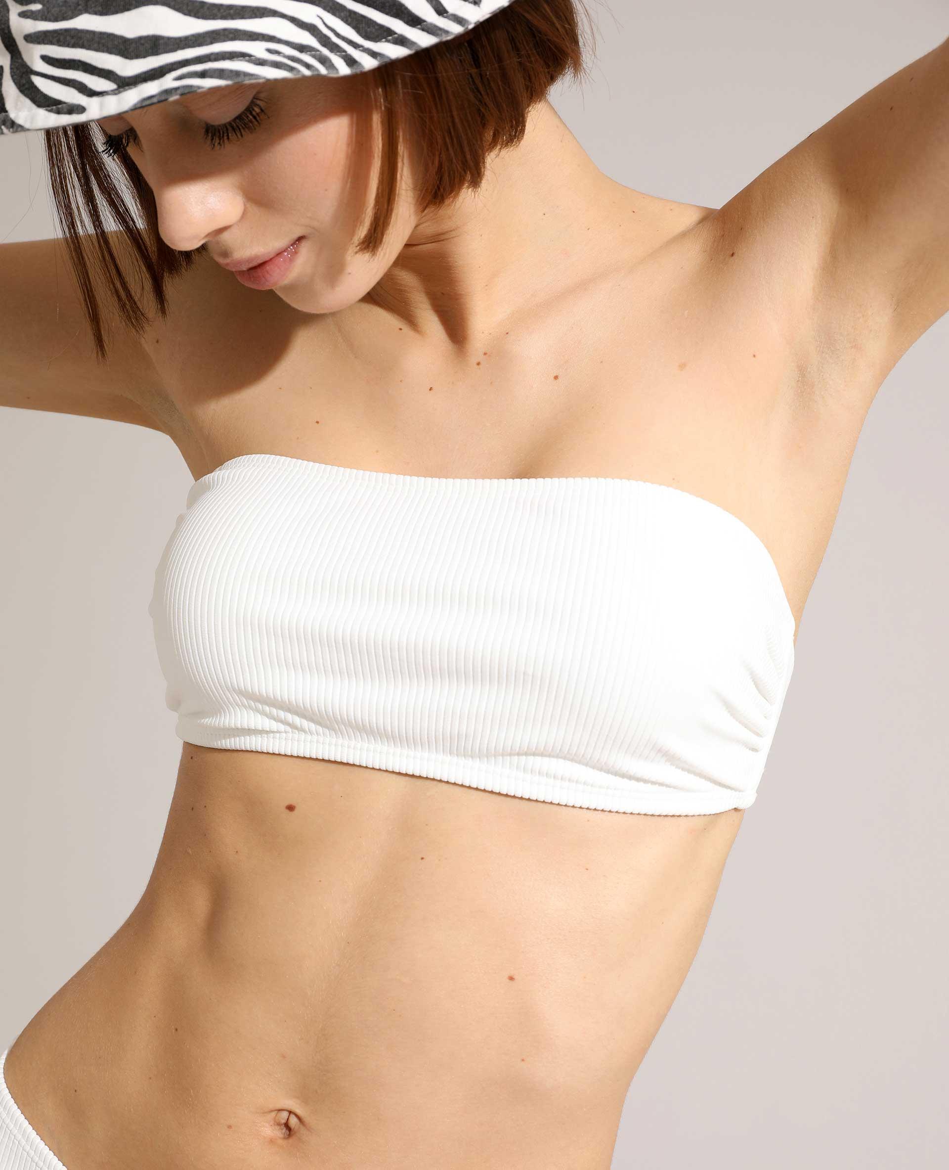 Haut de maillot bandeau côtelé blanc - Pimkie