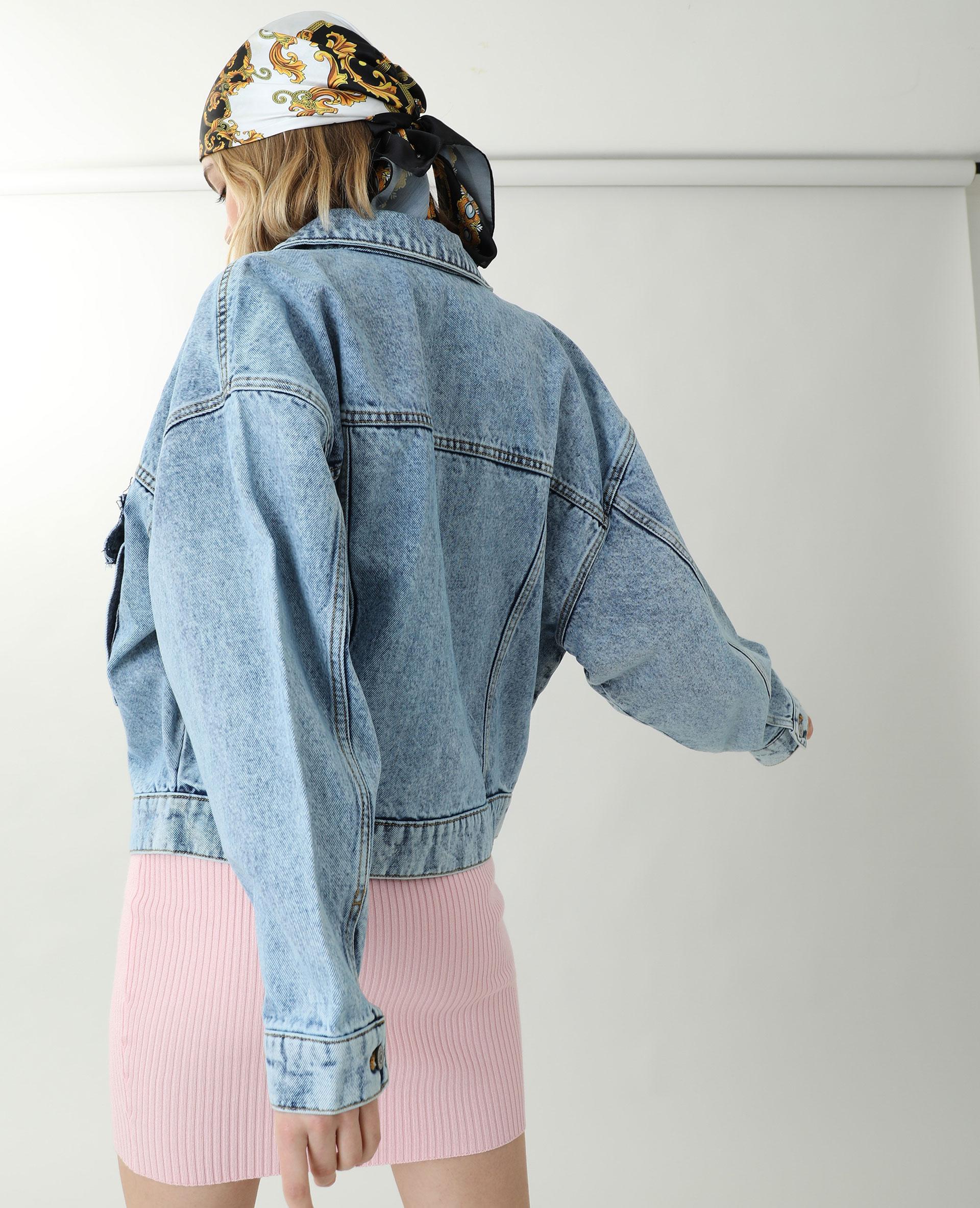 Oversized jeansvestje denimblauw - Pimkie