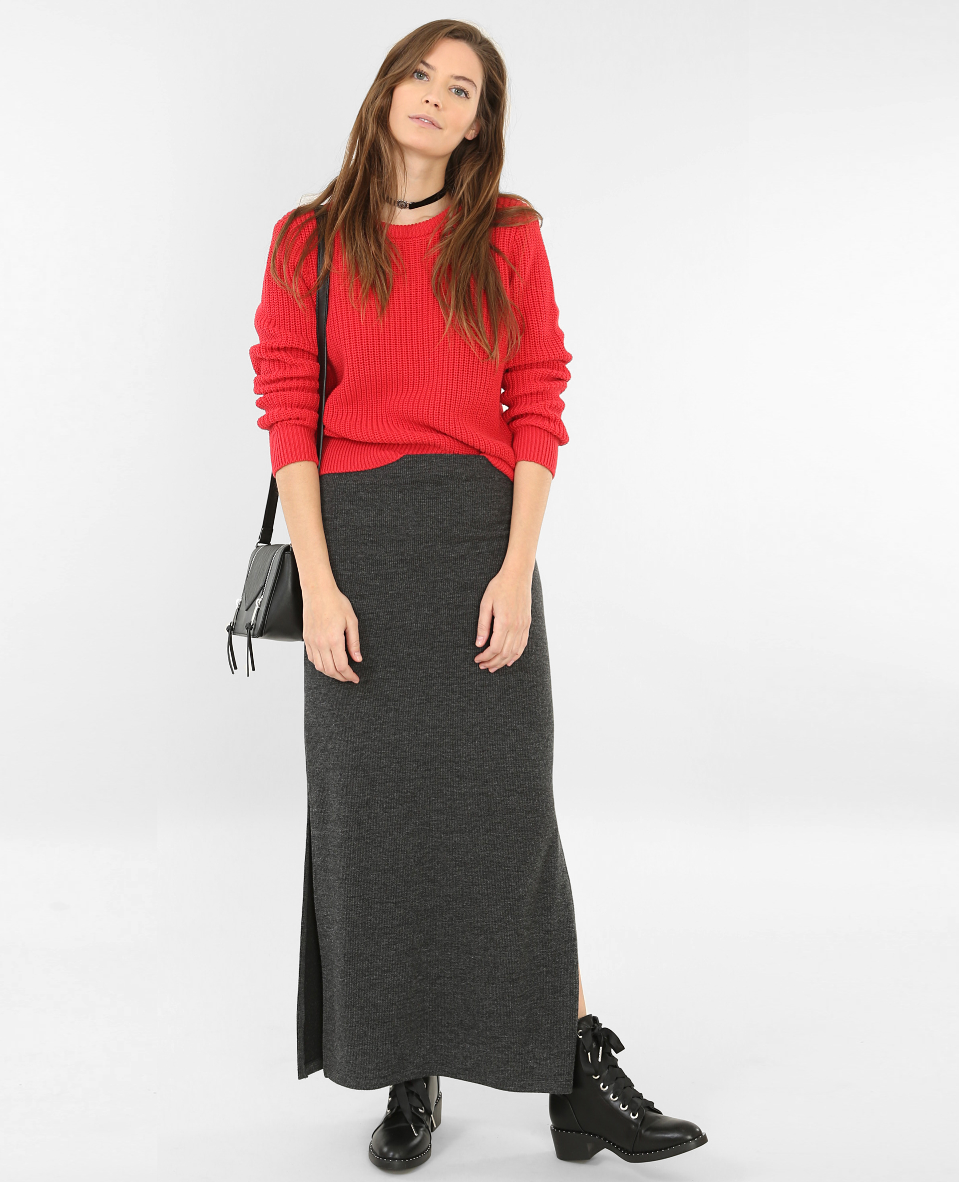 lange rok met split grijs
